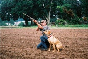 River the gun dog on a hunt with Dawn in Minnesota