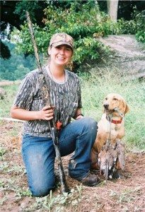 Dawn pictured with her bird dog River